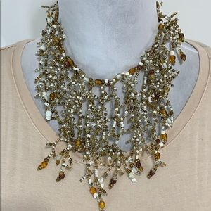 Amber & white beaded necklace